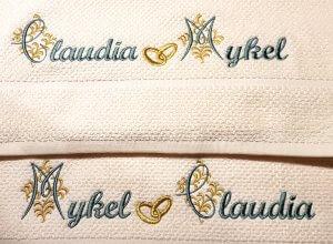 Huwelijks handoeken met goud borduring