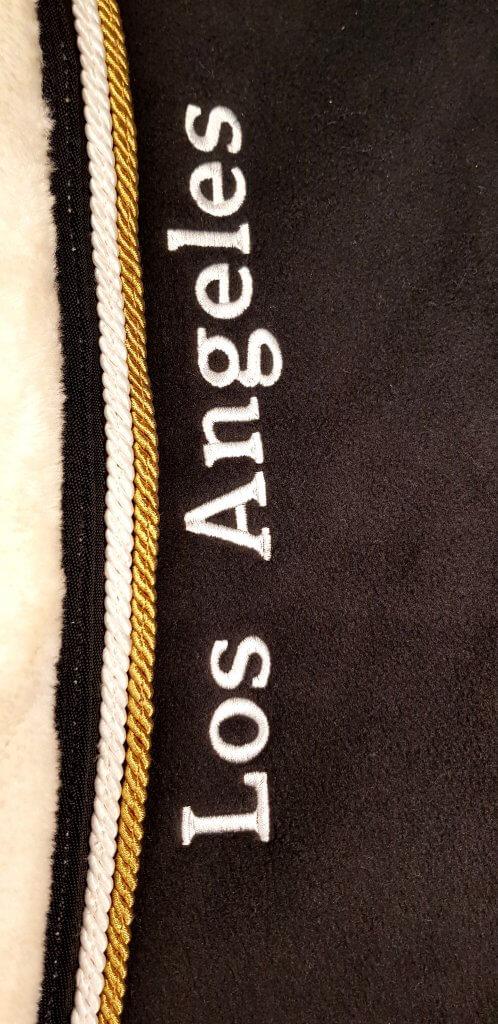 Los Angeles borduren langs hals fleece deken