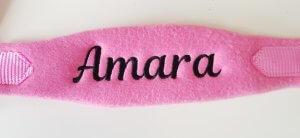 Roze halster met naamborduring