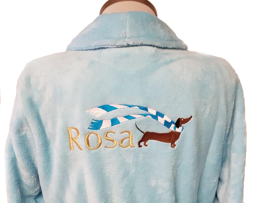 Borduring badjas met naam en hond