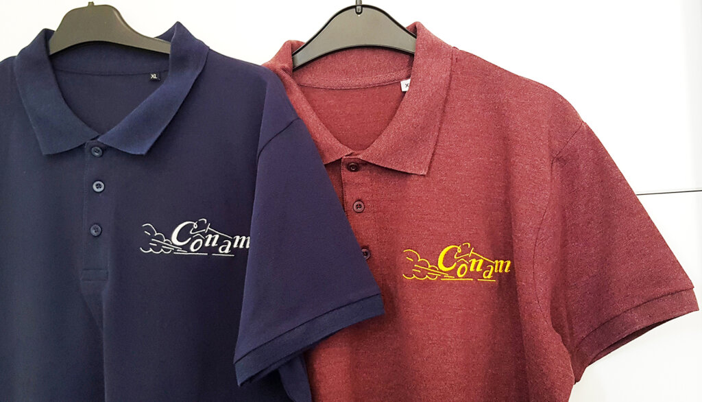 Conam logo borduring